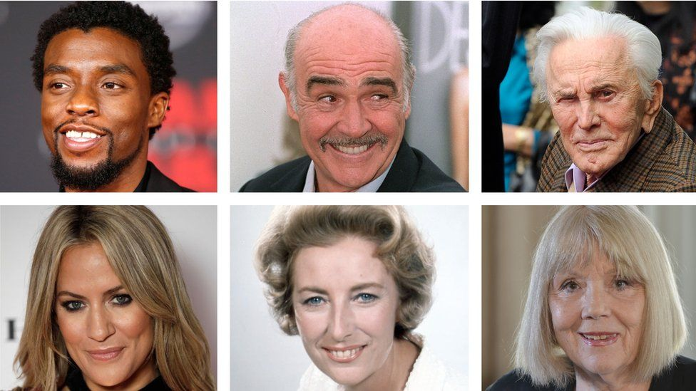 Clockwise from top left: Chadwick Boseman, Sean Connery, Kirk Douglas, Diana Rigg, Vera Lynn, Caroline Flack