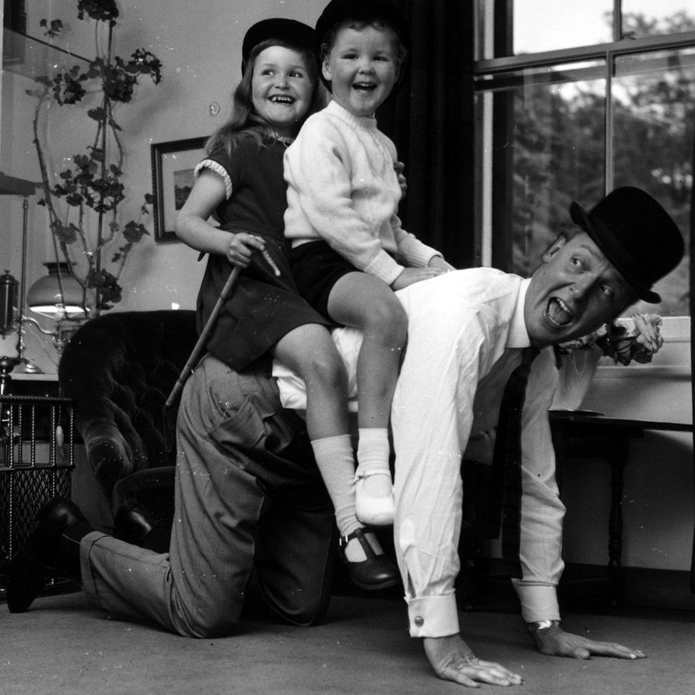 Nicholas Parsons with his children Suzy and Justin at their Hampstead home in 1965