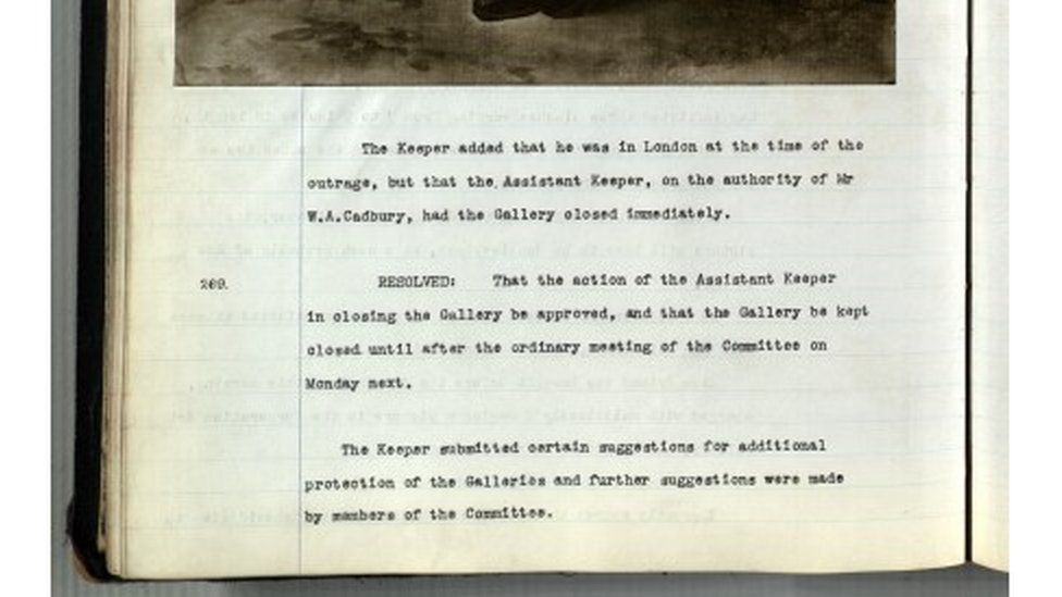 Minute 268 from 10 June 1914 relating to the slashing of 'Master Thornhill' by suffragette Bertha Ryland