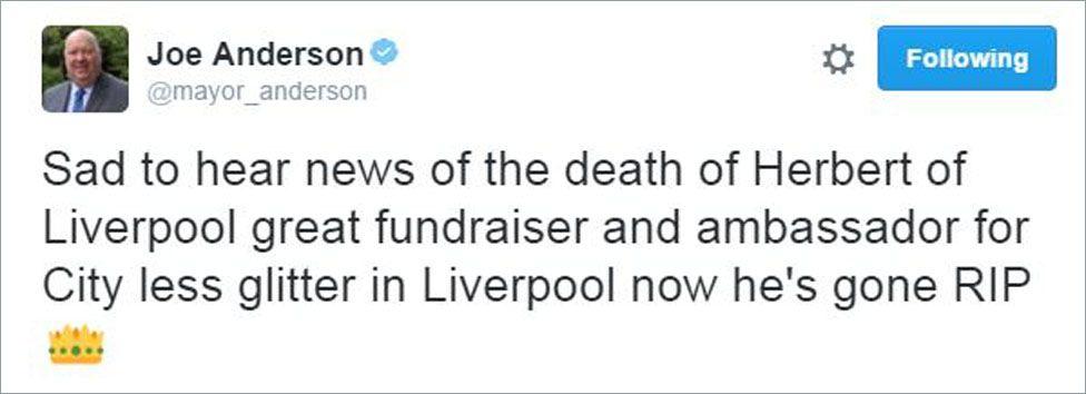 Joe Anderson tweet