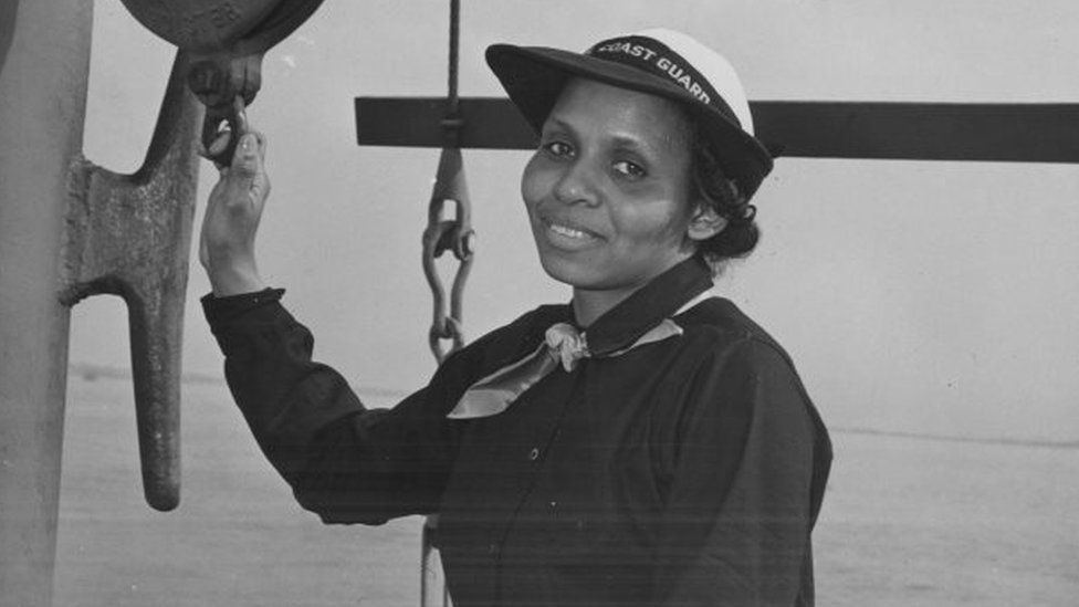 photographic portrait of Olivia Hooker in her uniform, in 1945 she became the first African-American woman to join the United States Coast Guard, Brooklyn, New York, 1945