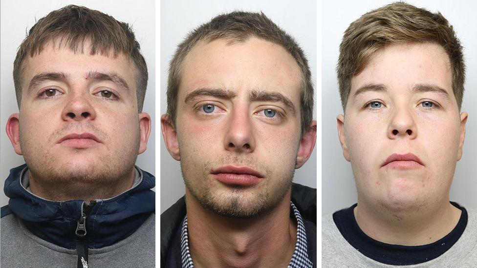 Jordan Metcalfe, 24, Nathan Redmond, 21, and Scott Crutchley, 24,