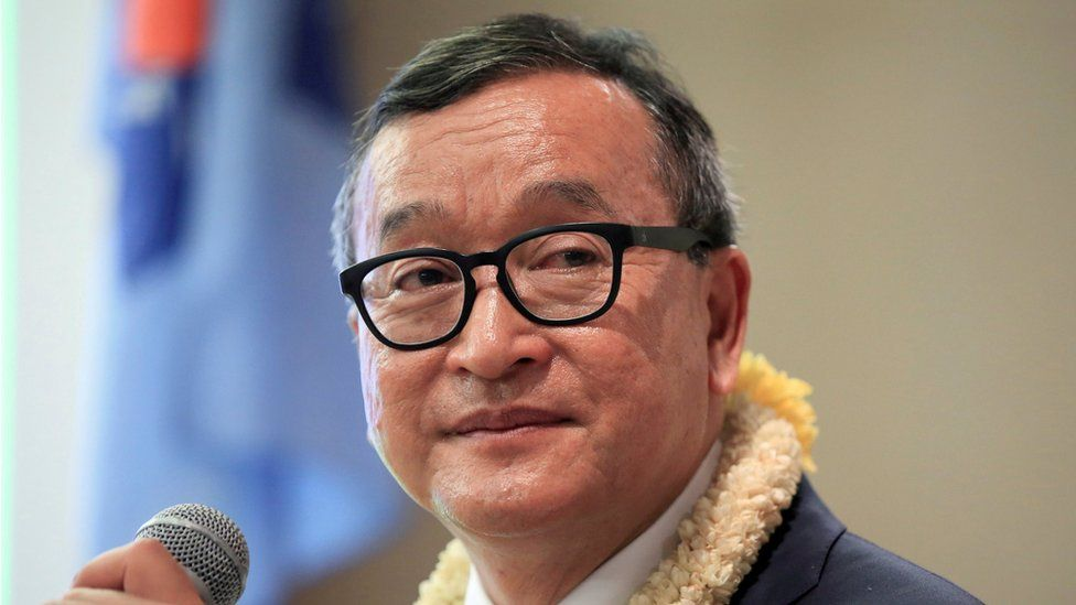 Cambodian opposition leader Sam Rainsy delivers a speech to members of the Cambodia National Rescue Party (CNRP) at a hotel in metro Manila, Philippines 29 June 2016