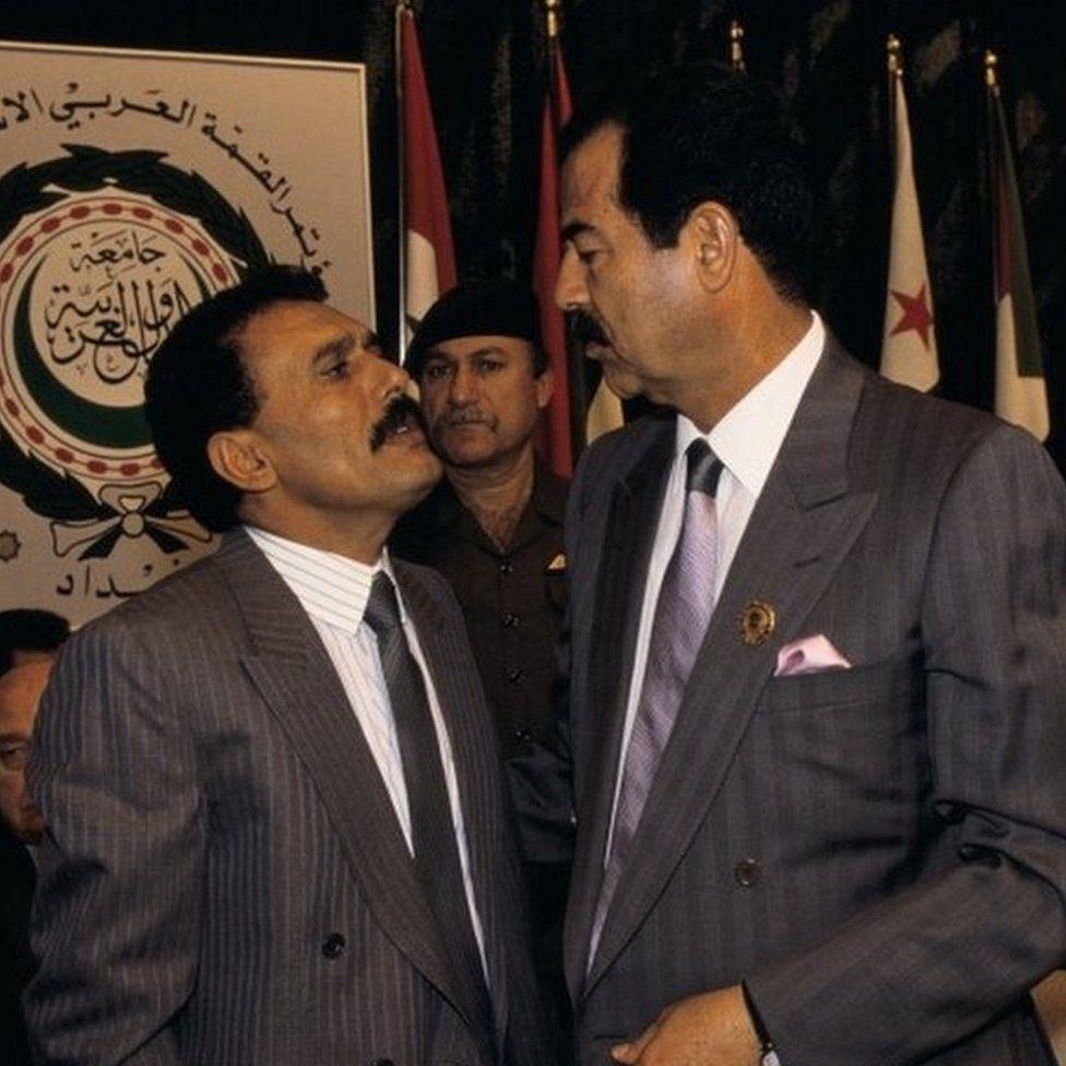 Ali Abdullah Saleh and President of Iraq Saddam Hussein
