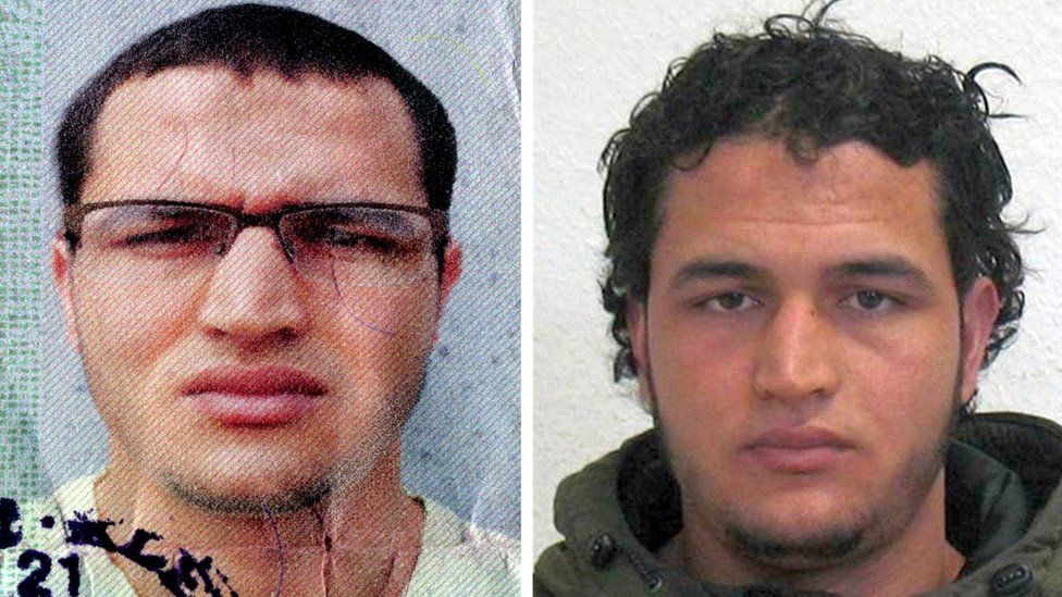 German federal police handout pictures of Berlin market attack suspect Anis Amri (21 December)