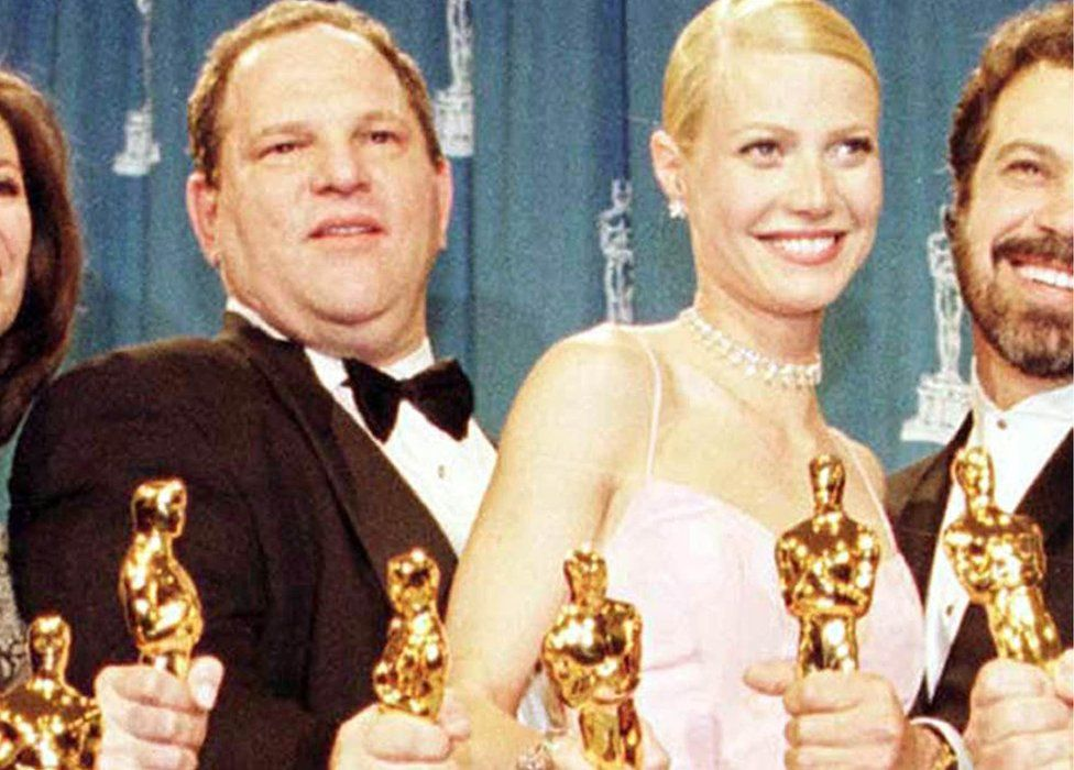 1999 photo of Harvey Weinstein and Gwyneth Paltrow after receiving the Oscars for the film Shakespeare In Love