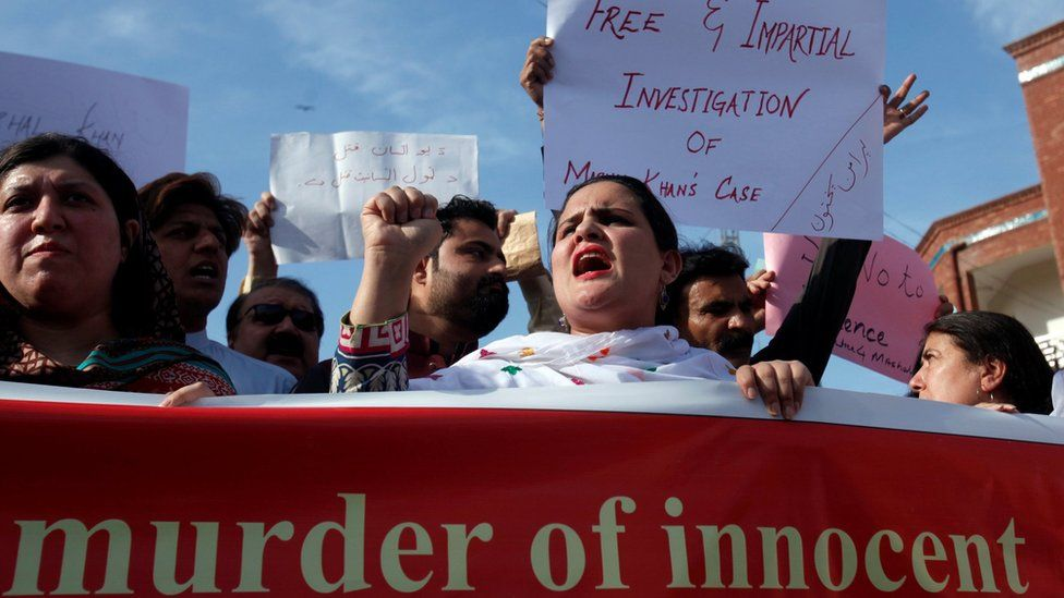 People demonstrate after the killing Mashal Khan, accused of blasphemy, by a mob at Abdul Wali Khan University in Mardan, during a protest in Peshawar, Pakistan 14 April 2017
