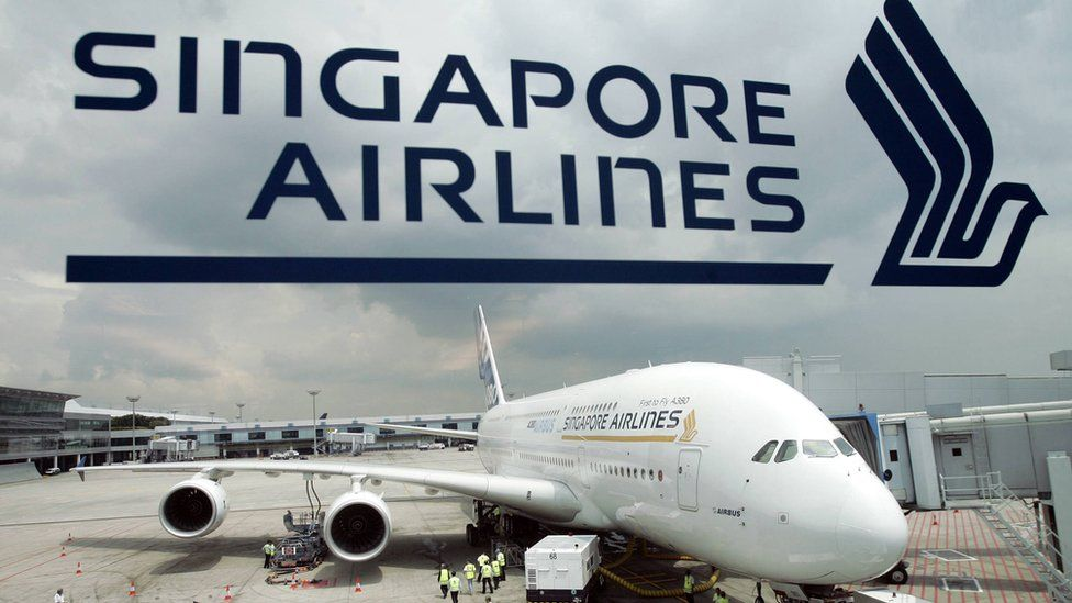 An Airbus A380 parked at Singapore's Changi Airport