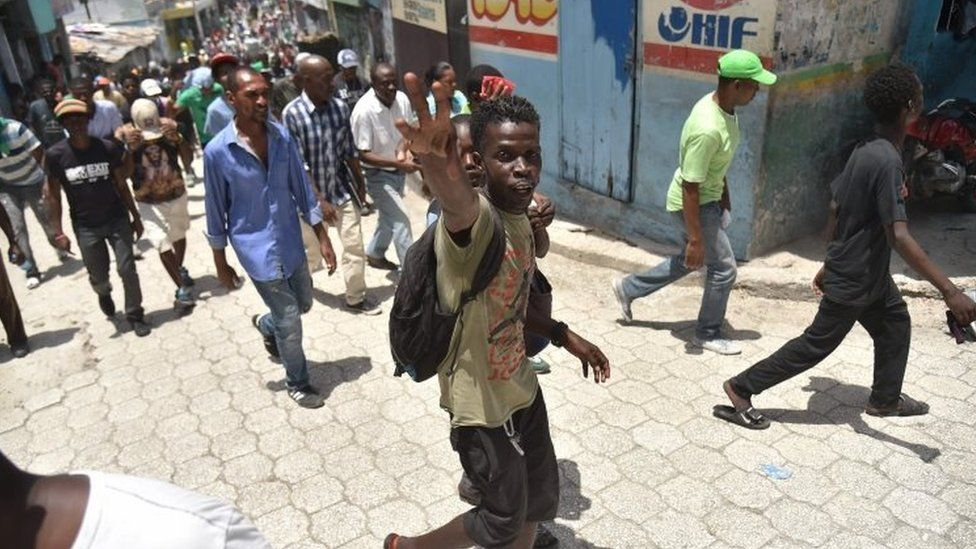 Demonstrators marched through the streets of Port-au-Prince, on 14 July 2018