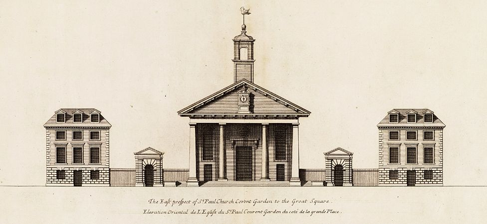 Front of St Paul's Church in Covent Garden, London (from Vitruvius Britannicus)