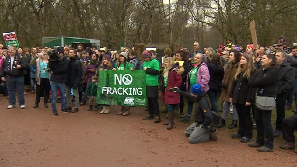 Protestors in Sherwood Forest