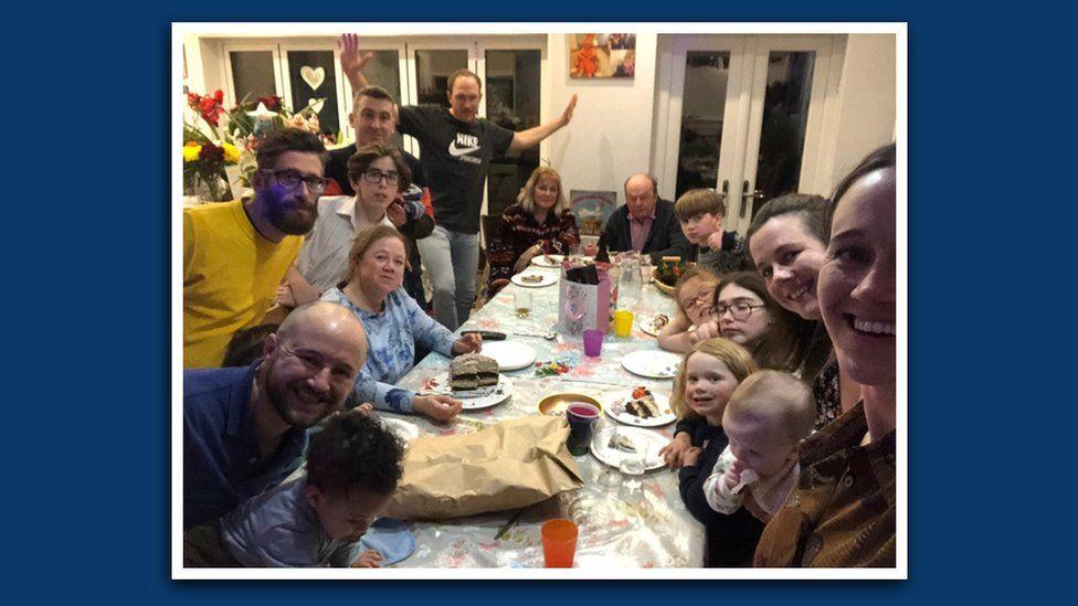 Ben's family celebrate his wife's birthday