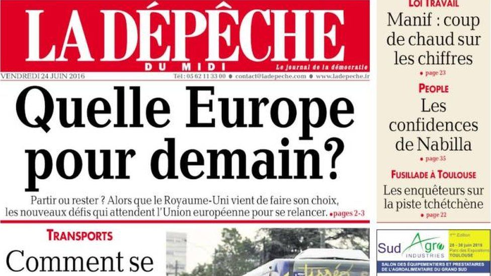 Front page of LaDepeche