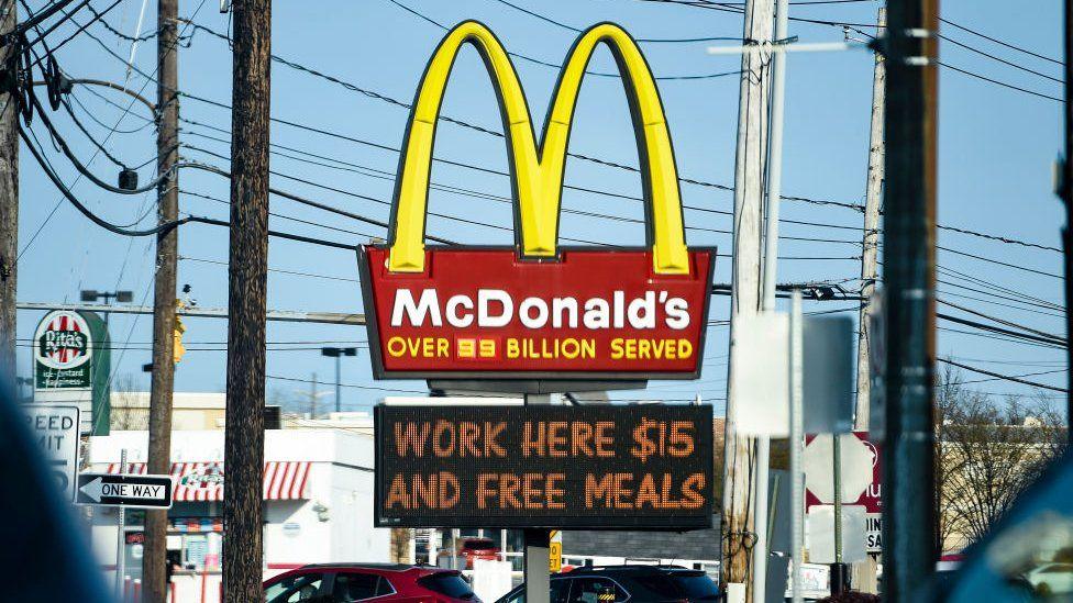 McDonald's sign advertising $15 minimum wage
