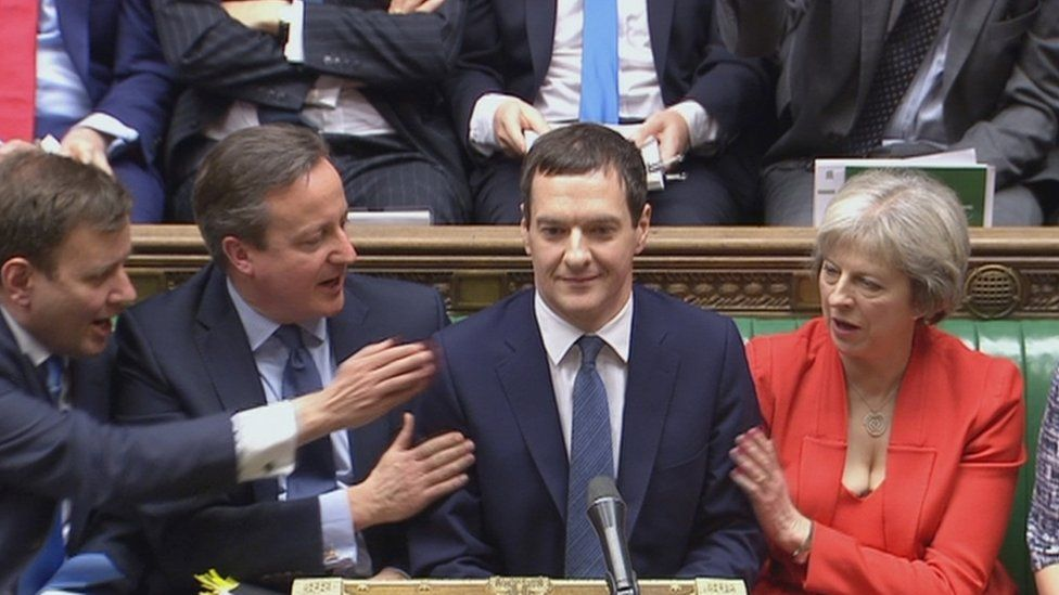 Theresa May with George Osborne and David Cameron in the House of Commons in March