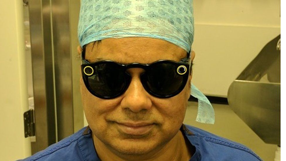 Dr Ahmed wearing the Snap Spectacles