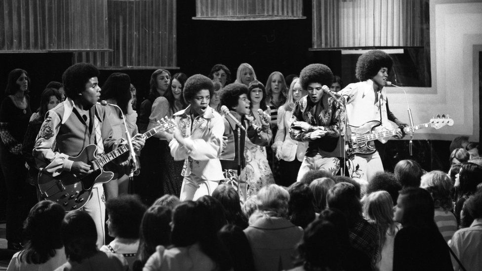 The Jackson 5 performing on BBC's Top of the Pop in 1972 - photographed in black and white