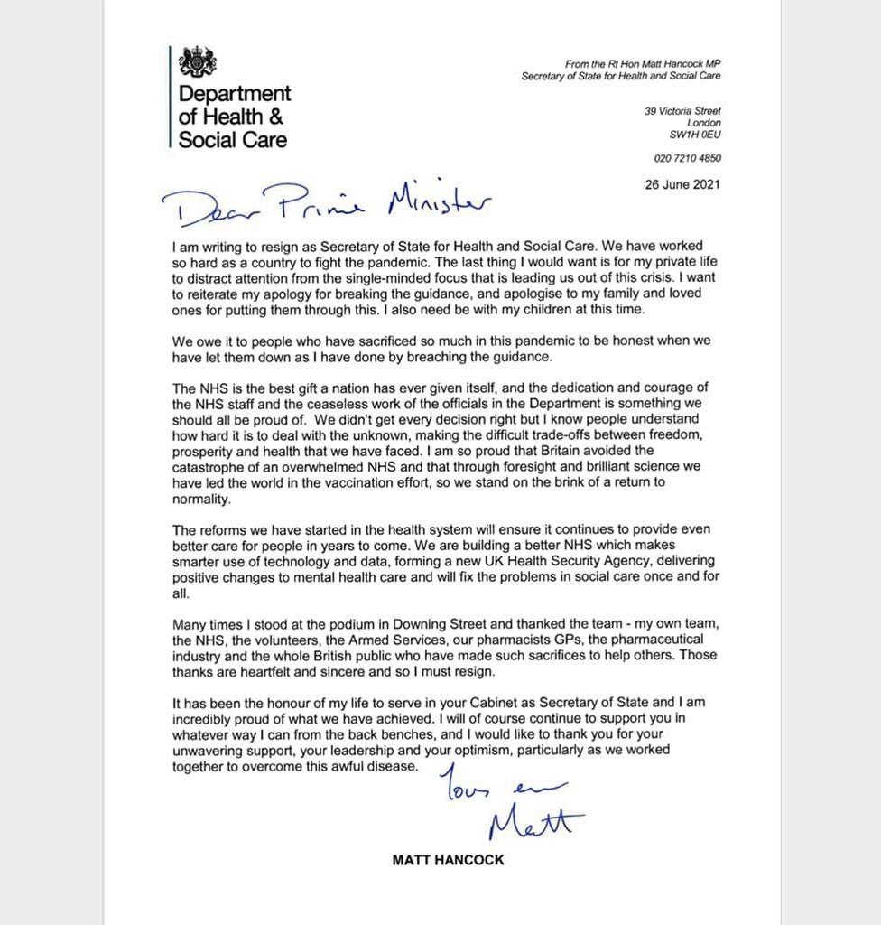 Hancock resignation letter