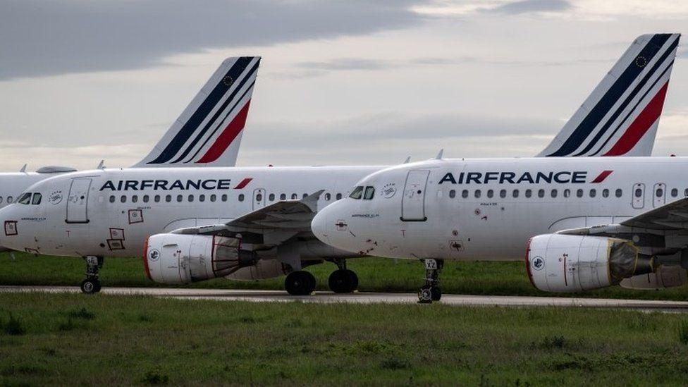 Parked Air France aircraft