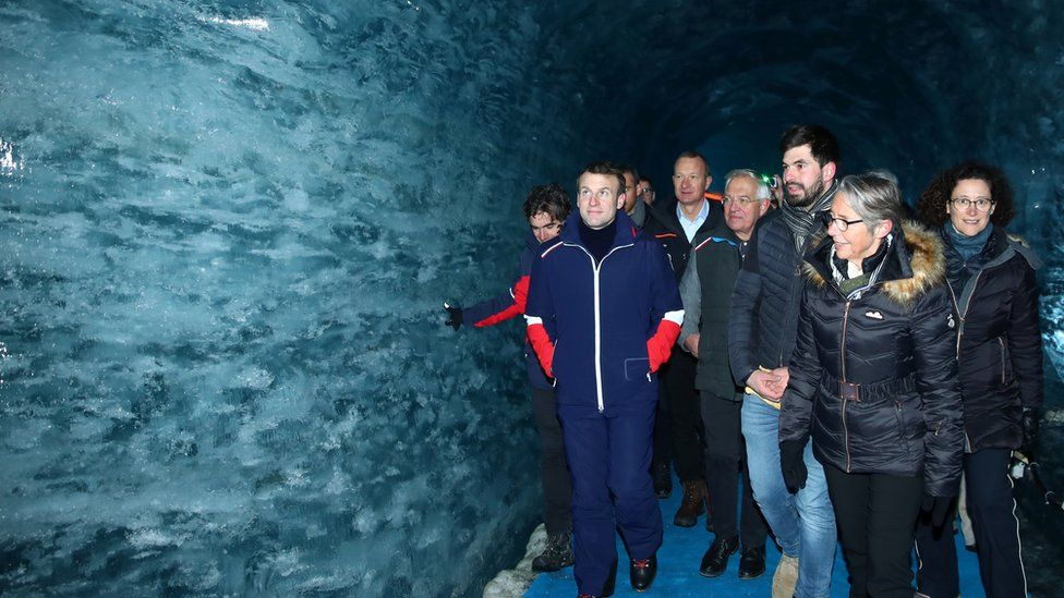 Emmanuel Macron visists Mer de Glace glacier with scientists and ministers