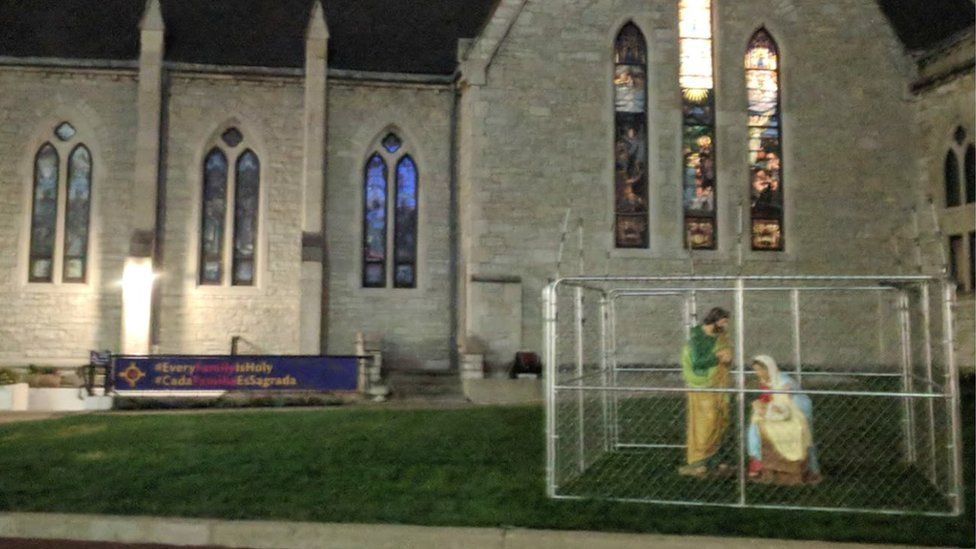 Christ Church Cathedral in Indianapolis, Indiana, put the display up on Monday night.