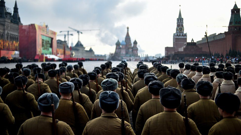 Soldiers line up for a parade on Moscow's Red Square