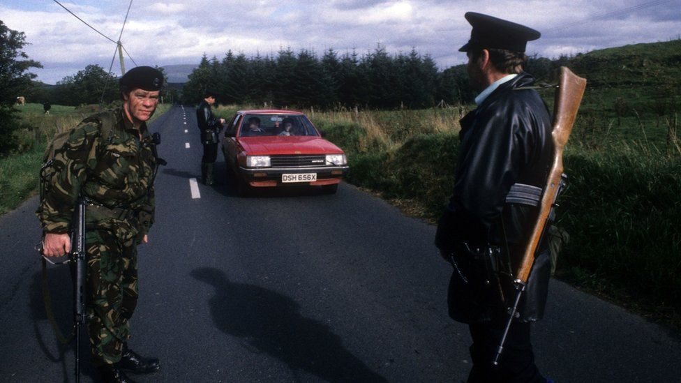 A security checkpoint in Crossmaglen in 1985