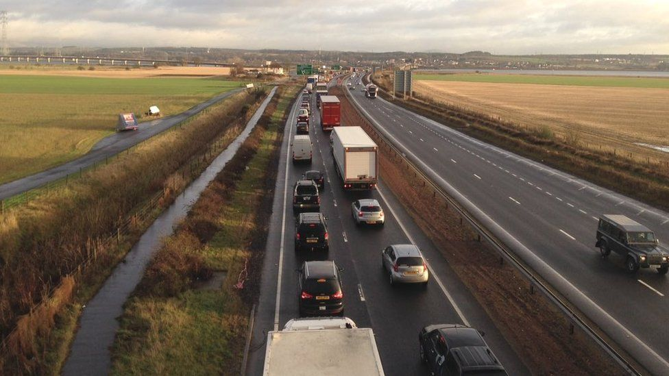 There are huge queues to the Kincardine and Clackmannanshire bridges Pic: Andrew Black