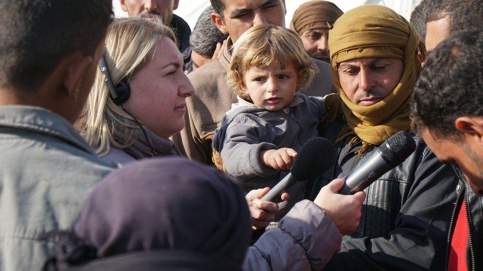 BBC 5 live's Anna Foster interviewing refugees in Erbil, Iraq