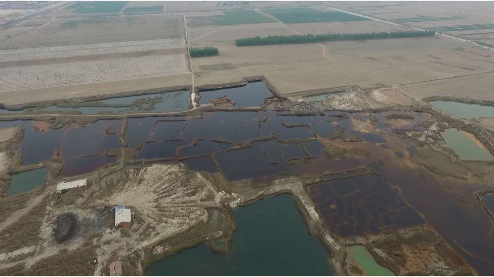 Aerial view of polluted land in Nanzhaofu in Dacheng county, Hebei