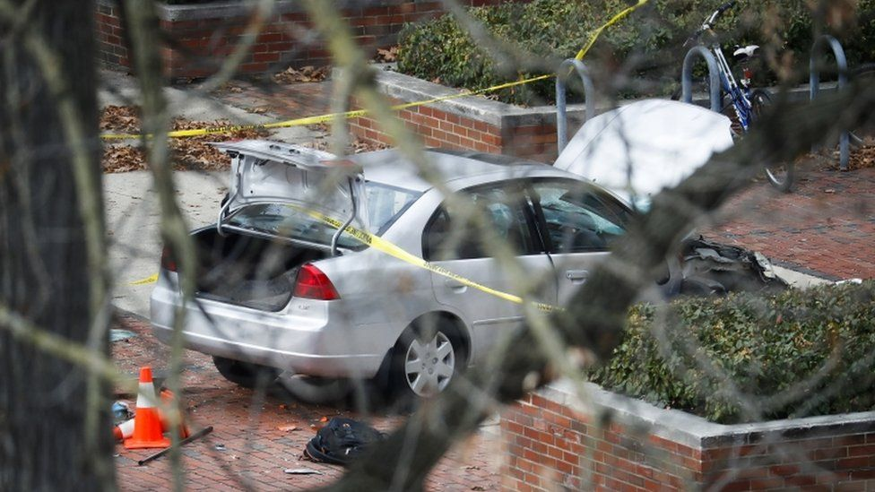 Police say the attacker drove this car into a crowd before continuing his attack with a knife