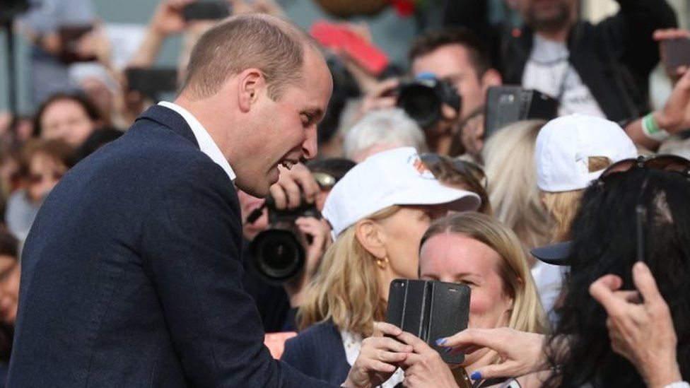 Prince William with crowds in Windsor