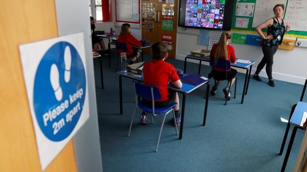 A school in Oxfordshire, with social distancing operating in class