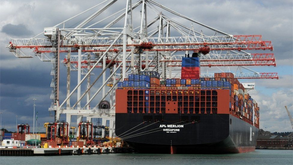 A ship docked at the DP World Southampton Container Terminal