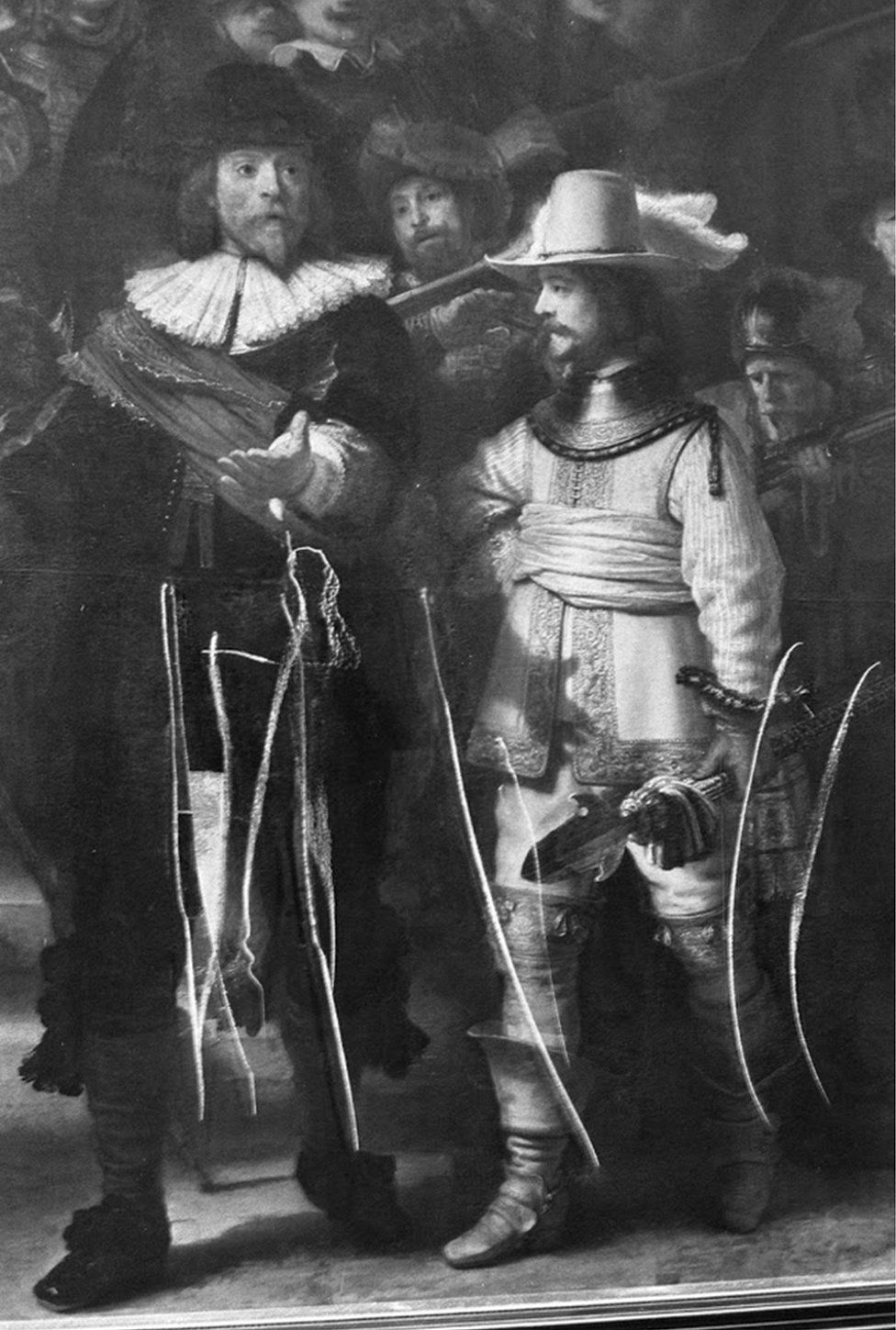 The Night Watch was severely damaged in 1975, after a man attacked the painting with a knife, inflicting 12 cuts to the canvas