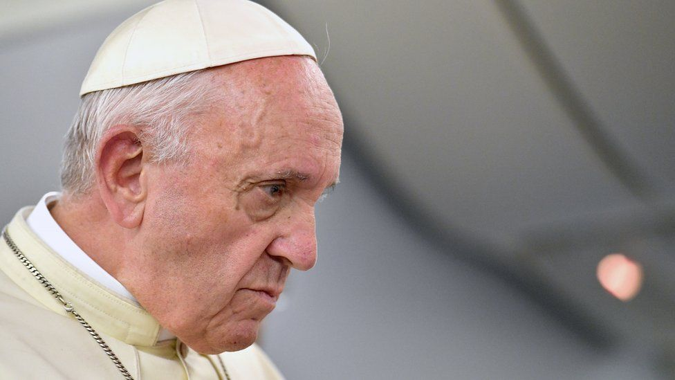 Pope Francis speaks to journalists aboard his flight to Italy at the end of the Apostolic Journey to South America, 22 January 2018