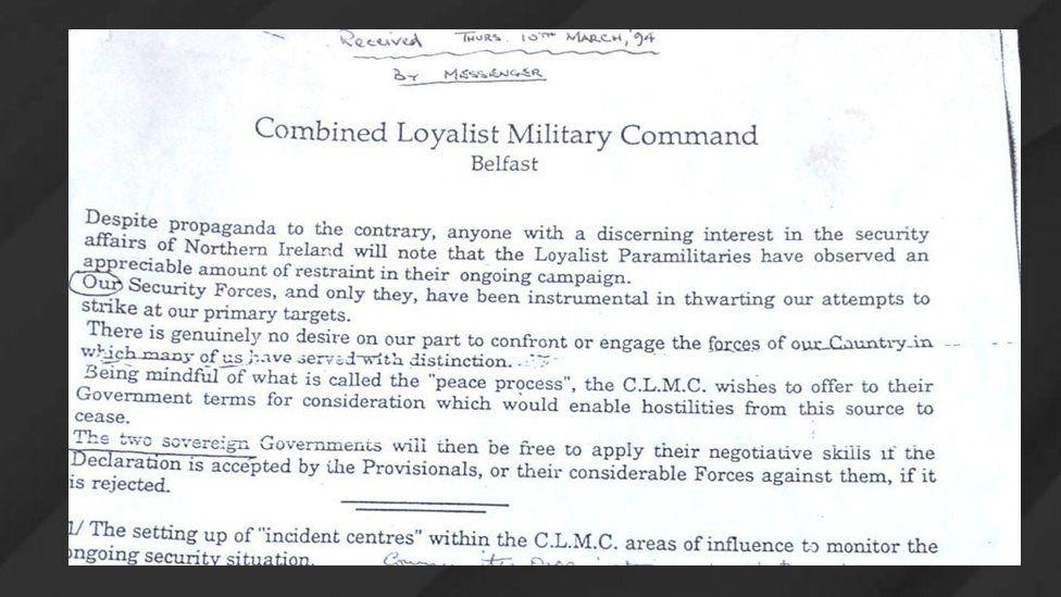 Loyalists statement