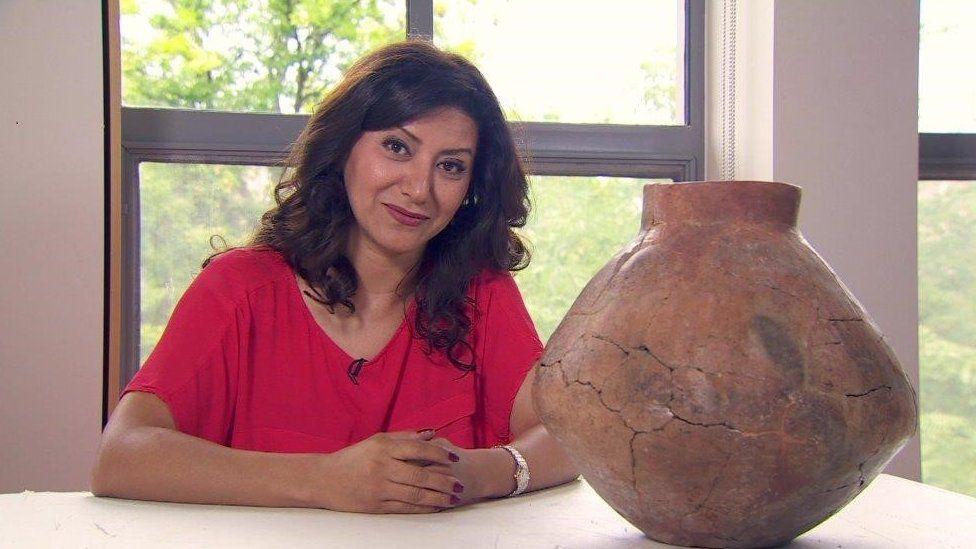 Anahita Shams pictured with ancient wine jar