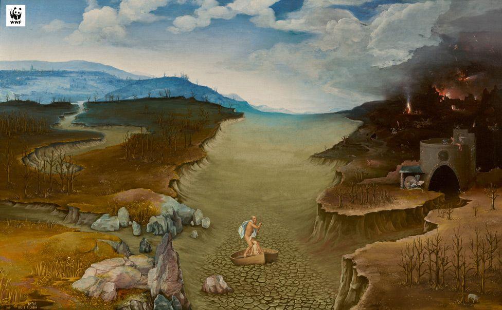 WWF version of El paso de la laguna Estigia (Landscape with Charon Crossing the Styx) by Joachim Patinir