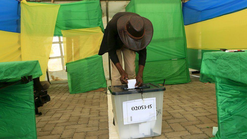 A man voting in Kigali, Rwanda