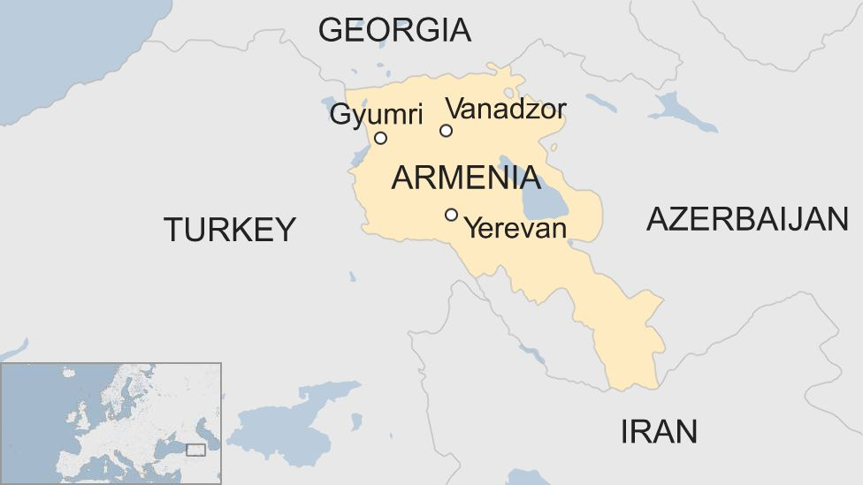 Map of Armenia showing cities and neighbouring countries