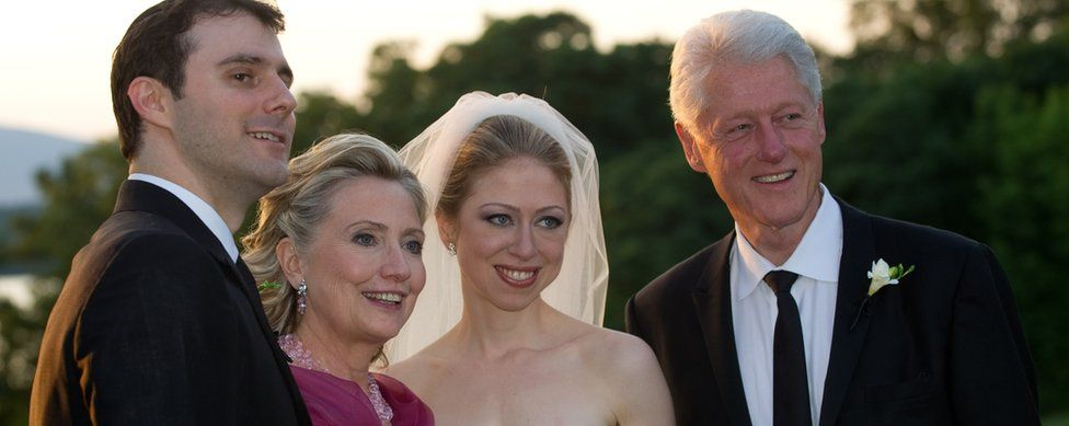Marc Mezvinsky, U.S. Secretary of State Hillary Clinton, Chelsea Clinton and former U.S. President Bill Clinton pose during the wedding of Chelsea Clinton and Marc Mezvinsky at the Astor Courts Estate on July 31, 2010