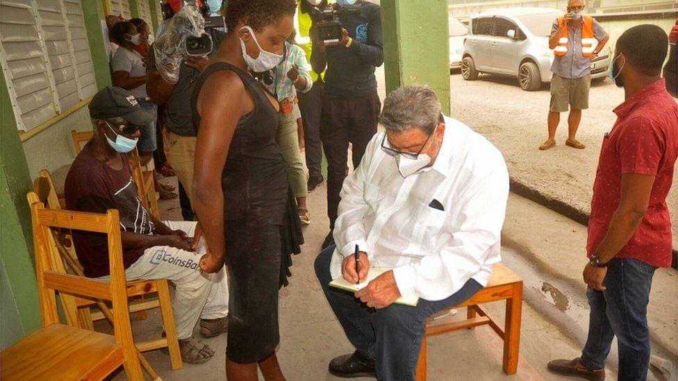 Prime Minister Ralph Gonsalves visits a shelter in St Vincent