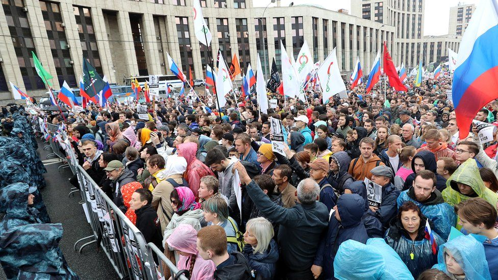 People take part in a rally in support of rejected independent candidates in the Moscow City Duma [Moscow parliament] election, in central Moscow, Russia, 10 August 2019