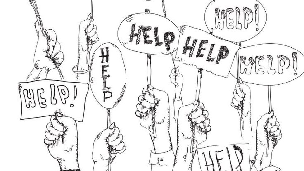 Black and white illustration of hands holding 'help' signs