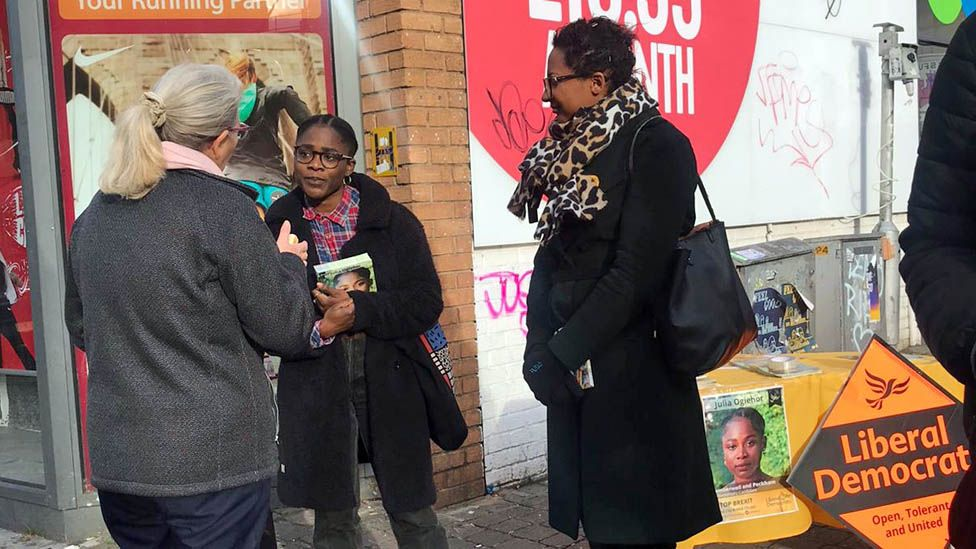 Julia Ogiehor campaigning in south London