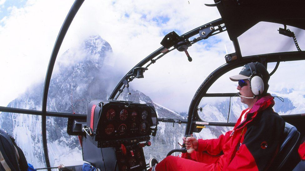 Rescue helicopter over Matterhorn