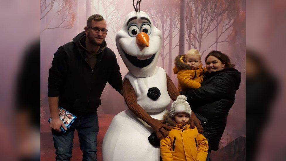 Leanne Jones and family meeting Olaf at Disneyland Paris