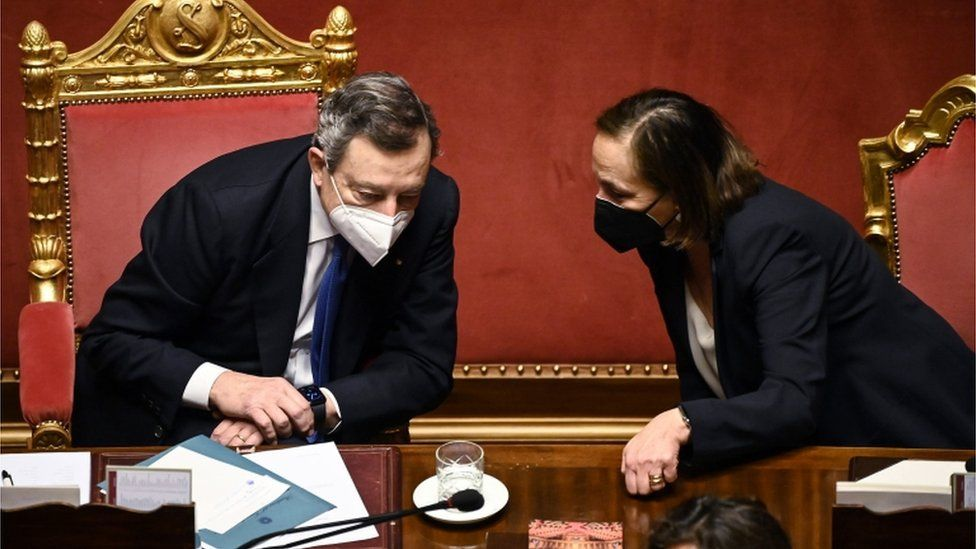 Italian Prime Minister Mario Draghi (L) with Minister of Interior Luciana Lamorgese (R) after he delivered a speech at the Senate ahead of the upcoming European Council meeting, Rome, Italy, 24 March 2021