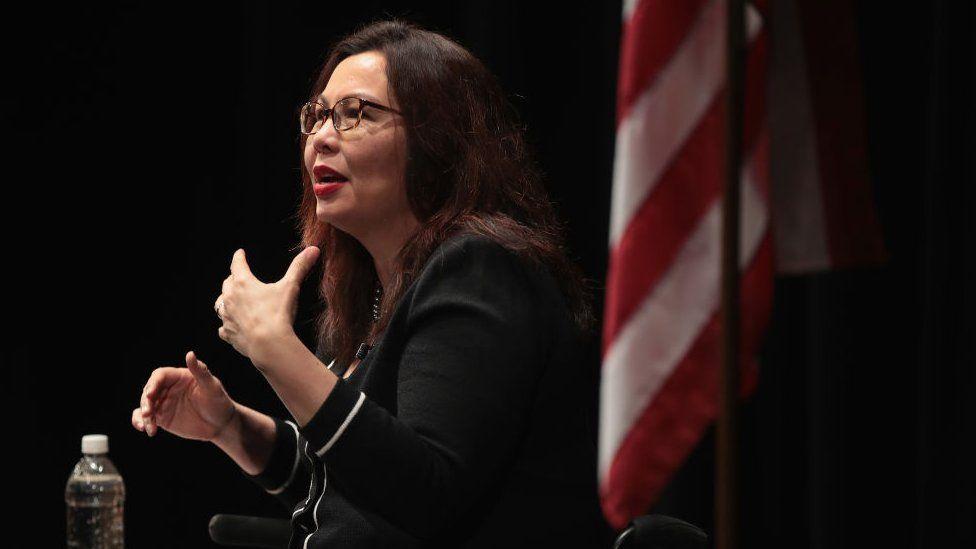 U.S. Senator Tammy Duckworth speaks during a town hall meeting.
